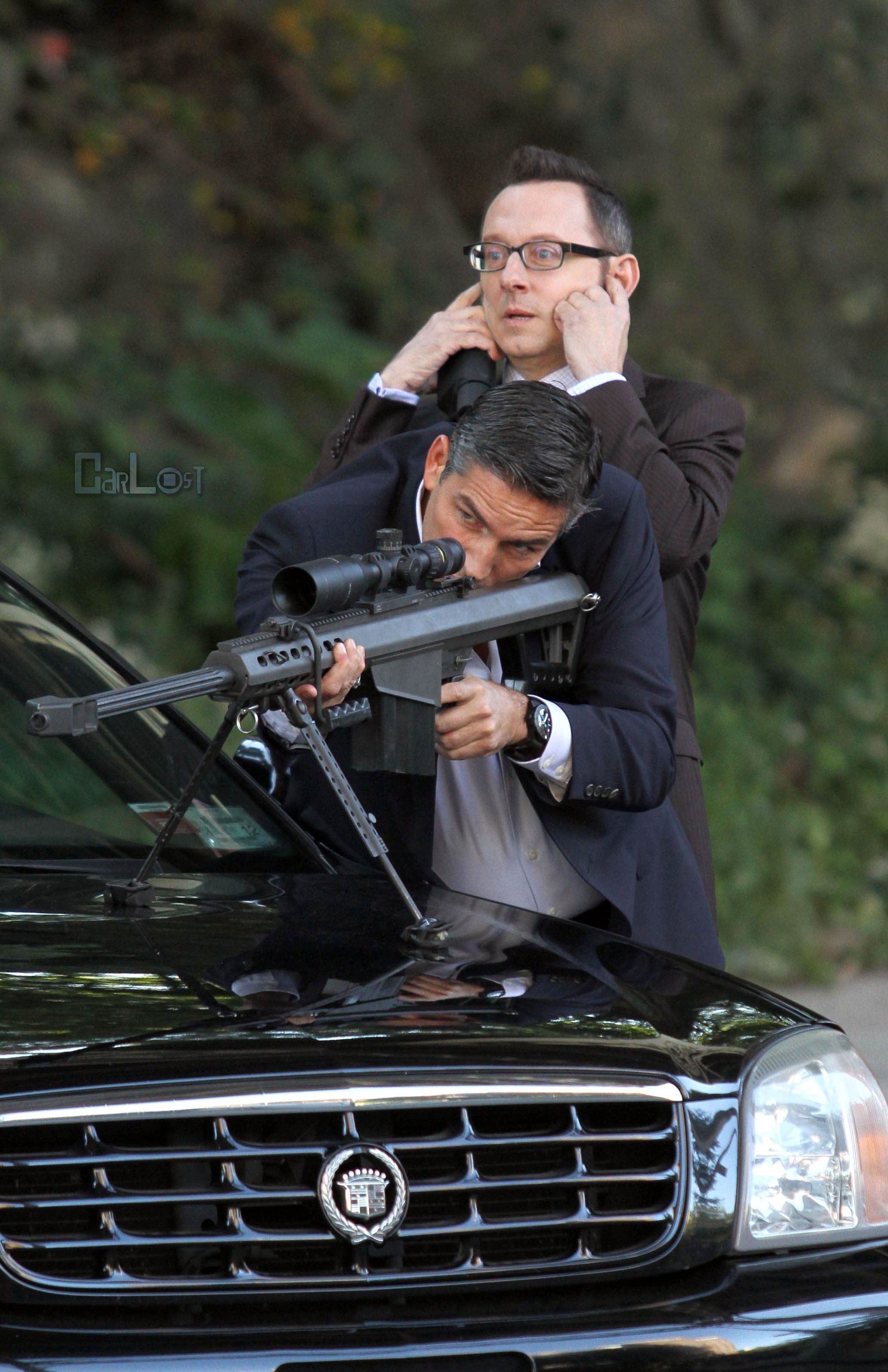 Michael Emerson and Jim Caviezel on Set of Person of Interest