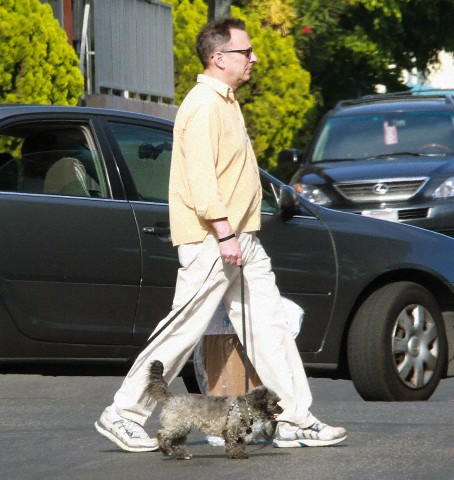 """Person of Interest""Star Michael Emerson with his dry cleaning and his little dog named,Chumley,walking on the streets of Los Angeles."