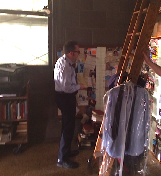 Photo: Michael Emerson Takes a Moment to Say Goodbye to the Library